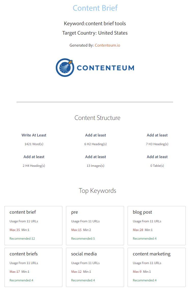 Contenteum brief tool